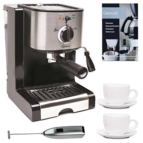 Capresso Pump Espresso and Cappuccino Machine Bundle with Knox Milk Frother, Descaler and Tiara Cup & Saucer 2-Pk