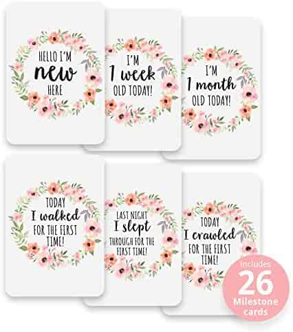 Baby Girl Floral Wreath Milestone Cards - Pack of 26 Premium Cards