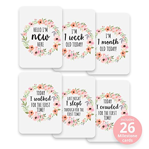 Baby Milestone Cards, Set of 26​ - N​ewborn First Year Progress Report Cards with Cute Sayings and Floral Wreath Prints - Unique Baby Shower Gift for New Moms, Parents - for Girls from CoCreative Design