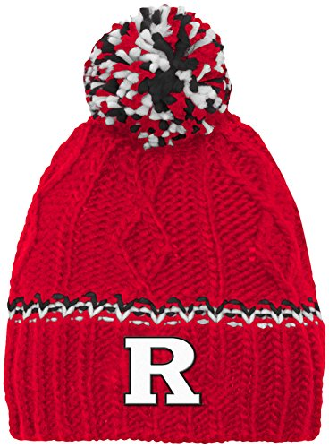 NCAA Rutgers Scarlet Knights Youth Girls Cable Knit Cuffless Hat w/Pom, Red, Youth One (Scarlet Knit Hat)