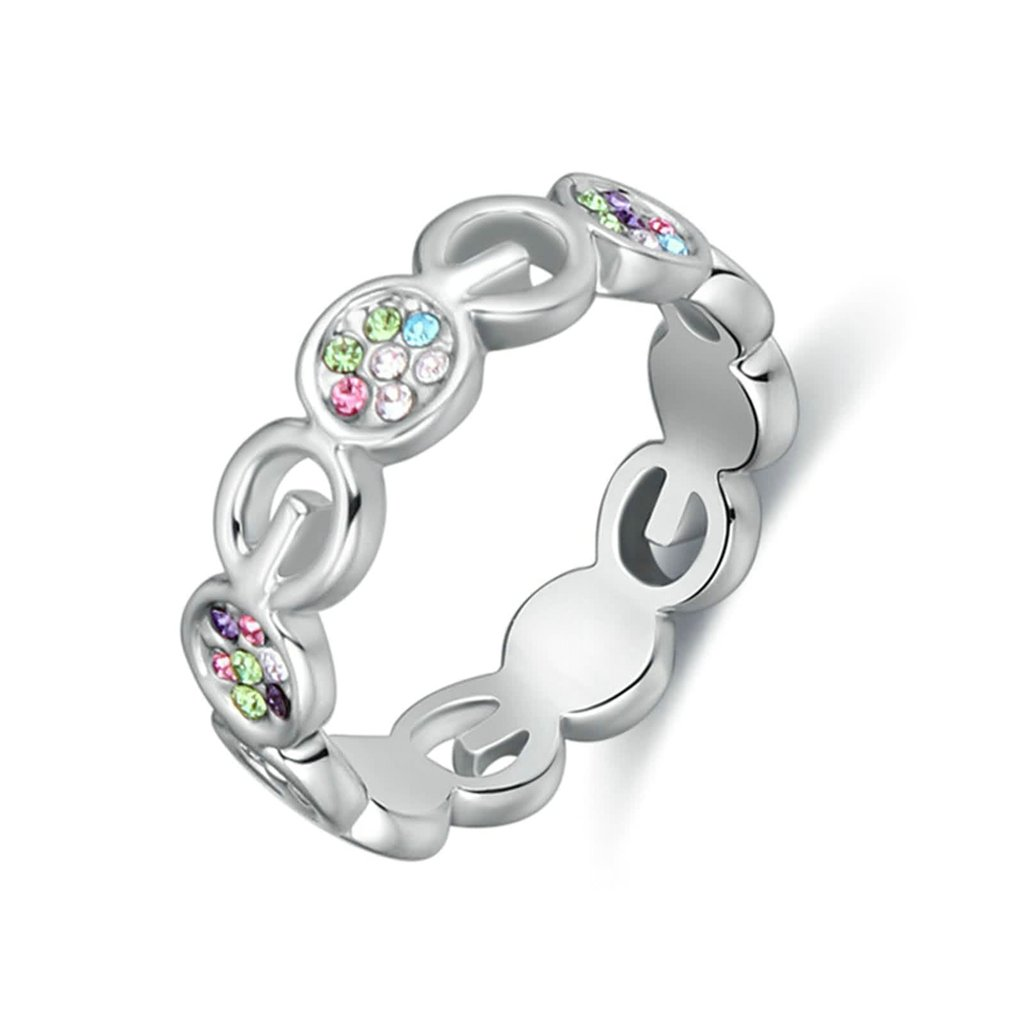 Gnzoe Womens Stainless Steel Hollow Crystal Colorful Annniversary Wedding Bands