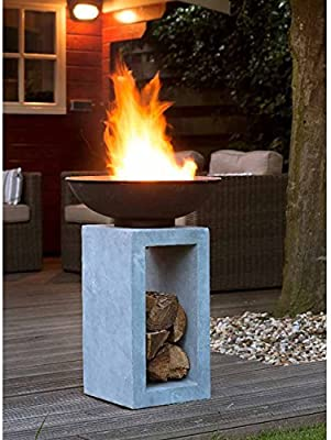 OUTLIV. Fuego Columna Jardín Brasero sobre Columna Diseño Jardín Decorativo, 39, 5 x 39, 5 x 68, 5 cm Metal/Clay Fibre de Cemento Gris: Amazon.es: Jardín