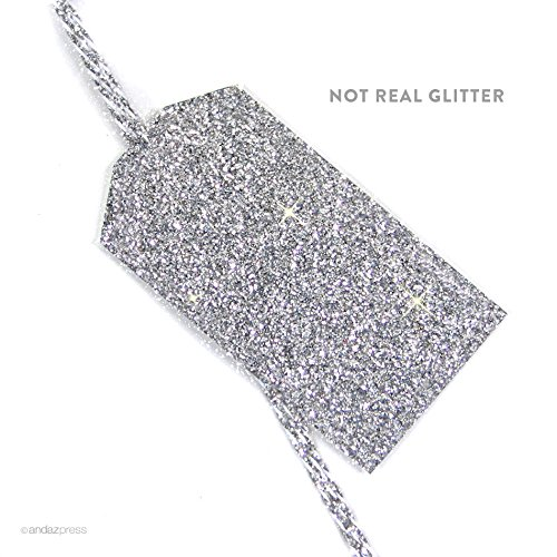 Andaz Press Classic Gift Tags, Solid, Blank, Printed Silver Glitter, 12-Pack