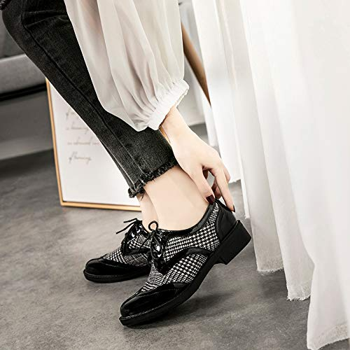 strap fashion shoes retro shoes casual lattice Patent FLYRCX ladies 38 EU work outdoor leather shoes shoes XSwOYxXIq