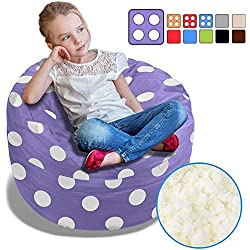 BeanBob Bean Bag Chair for Kids - Foam Filled Bean Bag - Bedroom Furniture & Sofa for Children, 2.5' Purple with Polka Dots