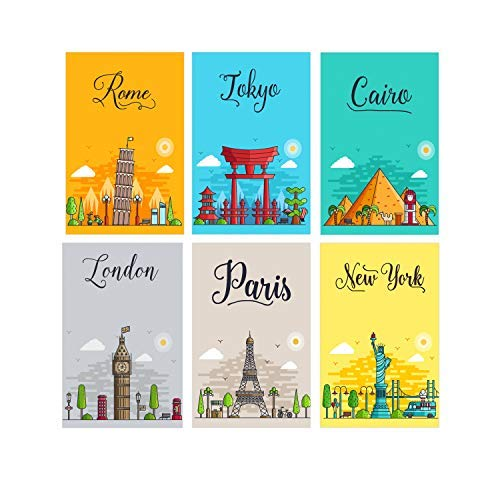 Set Of 6 11x17 City Wall Art Posters | Kids Posters Of New York, Paris, Tokyo, Rome, Cairo and London To Make The Perfect Wall Art | Prints For Teens Room Decorations | Girls Bedroom Decor Poster (Bold And The Beautiful 11 6 17)