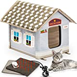 Heated Cat House with Electric Heat Mat and Plug in Timer - Keep Your Cats Warm & Dry