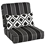 Oakley Sunbrella Striped Indoor/ Outdoor Corded Chair Cushion Set and Lumbar Pillow | Black, Grey