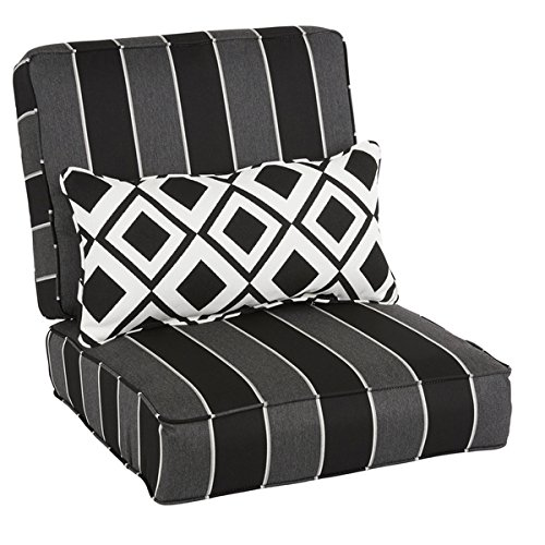 Oakley Sunbrella Striped Indoor/ Outdoor Corded Chair Cushion Set and Lumbar Pillow | Black, Grey by Sunbrella