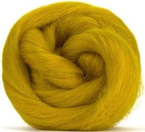 Fibras de paraíso de 4 onzas color mostaza (amarillo) Corriedale ...