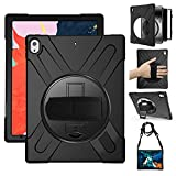 iPad Pro 12.9 Case 2018, 360 Degree Rotating Stand Cover with Adjustable Hand Strap/Shoulder Strap, Heavy Duty Shockproof Rugged Case for 12.9' iPad Pro 3rd Gen, Model A1876 A2014 A1895 A1983, Black
