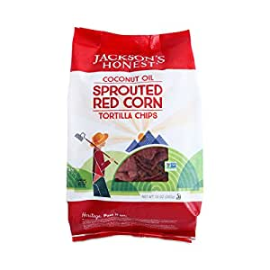 Jackson's Honest Sprouted Red Corn Tortilla Chips, 10 Ounce (Pack of 9)