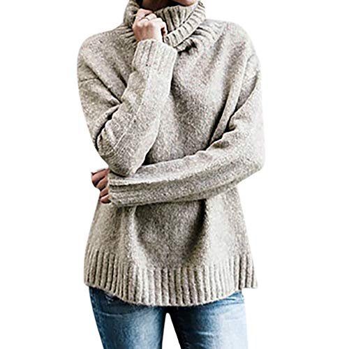 Liraly Tops For Women New Fashion Womens Off The Shoulder Sweater Casual Knitted Loose Long Sleeve Pullover Autumn Shirt (US-6 /CN-M,Khaki) by Liraly
