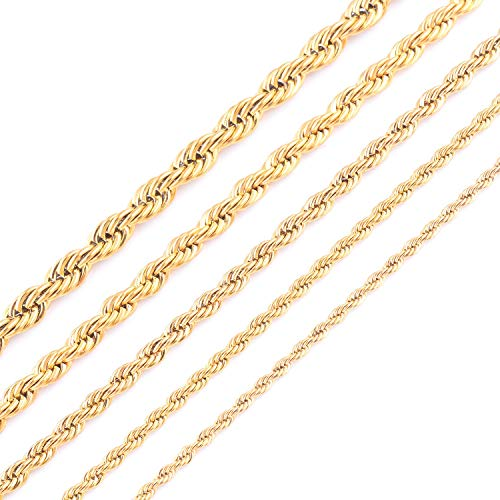(HOUBL Gold Plating Rope Chain Stainless Steel Necklace for Women Men Gold Fashion Rope Chain Jewelry Gift )