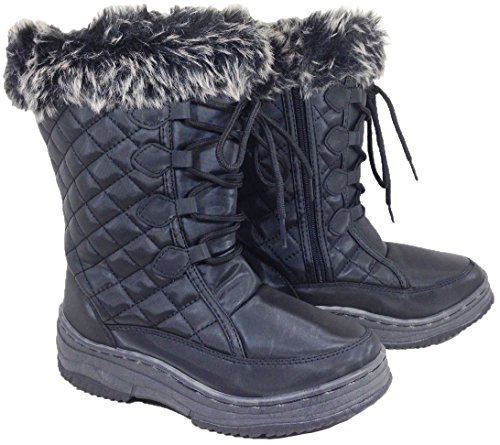 Anna Almeida Sunrise04 Donne Inverno Freddo Snowboots Lace Up Cerniera Alba Nero