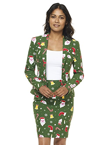 OppoSuits Christmas Suits for Women in Different Prints - Ugly Xmas Sweater Costumes Include Blazer and Skirt -