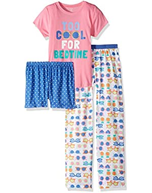 Girls' 3 Piece Too Cool for Bedtime PJ Set