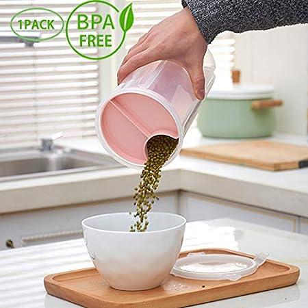 AnseeDirect Pl/ástico de Alimentos Recipiente Herm/ético Pl/ástico a Prueba de Humedad sin BPA 4 particiones Contenedores de Alimentos herm/éticos 2.35L para harina Az/úcar Arroz Cereales peque/ños