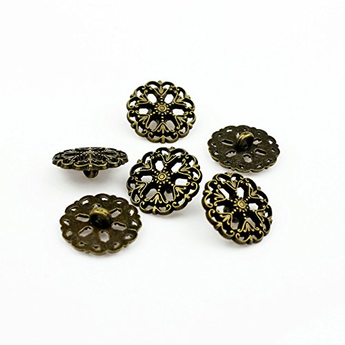 RECHERE 24PCS Metal Hollow Snowflake Pattern Round Shank Buttons Craft For DIYS Sewings Embellishment(Bronze,18mm)