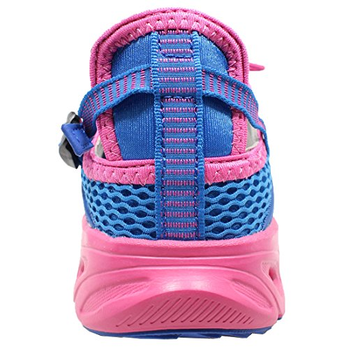 Schnell trocknende Aqua-Wasser-Schuhe der Frauen Beleg auf amphibischen athletischen Netz-Wanderschuhen von ToySharing Blau / Fuchsie