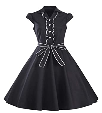 Amazon.com  Jaycargogo Women 1950s Cap Sleeve Swing Vintage Party Dress  Black XS  Clothing 5cc5e12e99cf