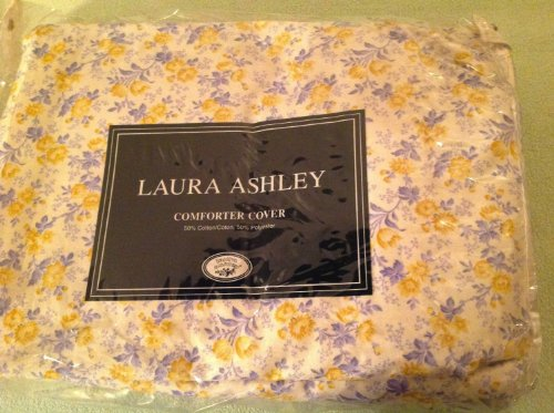 Vintage Laura Ashley Twin Duvet Comforter Cover, Jo, Blue and Yellow Floral