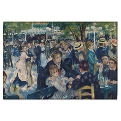 Moulin De La Montmartre Galette (Masterpiece Painting Artwork Printed Cotton Cloth Fabric Prints Poster Flag Banner Wall Hanging Tapestry - Bal du Moulin de la Galette, Montmartre by Pierre-Auguste Renoir (Small-17.32