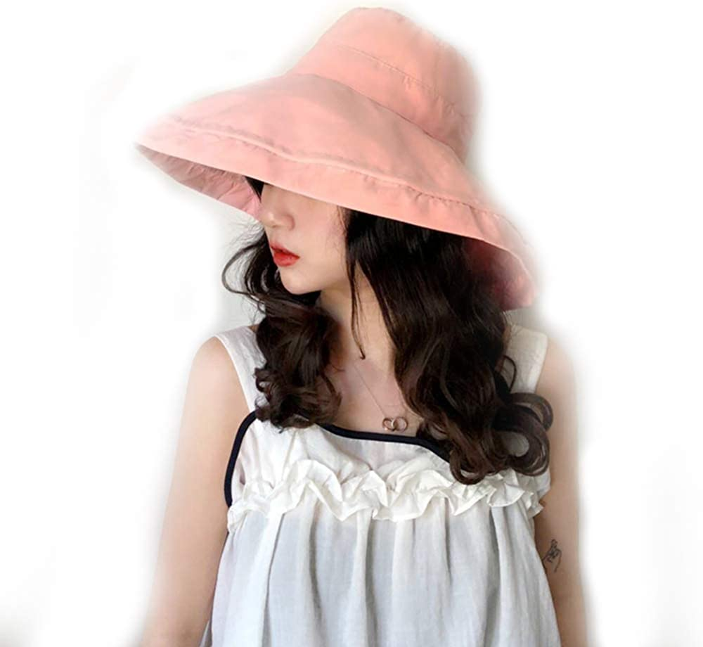 HongGun Women Summer Hat UV Protection Wide Brim Cap Solid Color Travel Foldable Hats