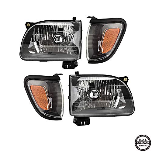Replacement Headlight Assembly GTYTC01-A4 with Black Housing Amber Reflector Clear Lens & Black Trim Corner Light Combination Set for Toyota Tacoma Pickup Truch - Headlight Tacoma Replacement Toyota