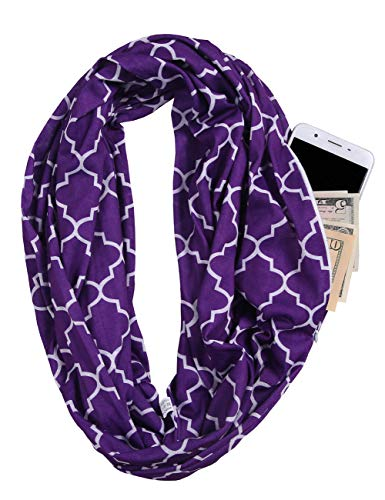 (JOKHOO Scarves for Women, Girls, Ladies, Infinity Scarf with Zipper Pocket Pattern Print Lightweight Wrap (One size, Flower Purple))