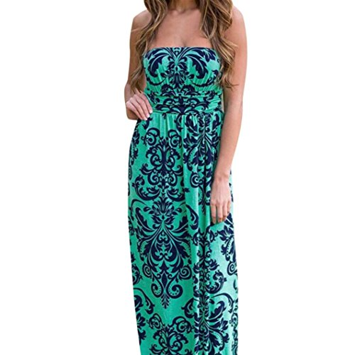 Women Dress,Haoricu Retro Women Strapless Off Shoulder Long Floral Beach Dress (XL, Blue)