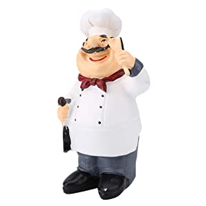 FTVOGUE Chef Figurines American Vintage Country Happy Chef Resin Figurine Home Restaurant Cafe Tabletop Decor Collectible Gifts(71110-04 Chef Holding Spoon)