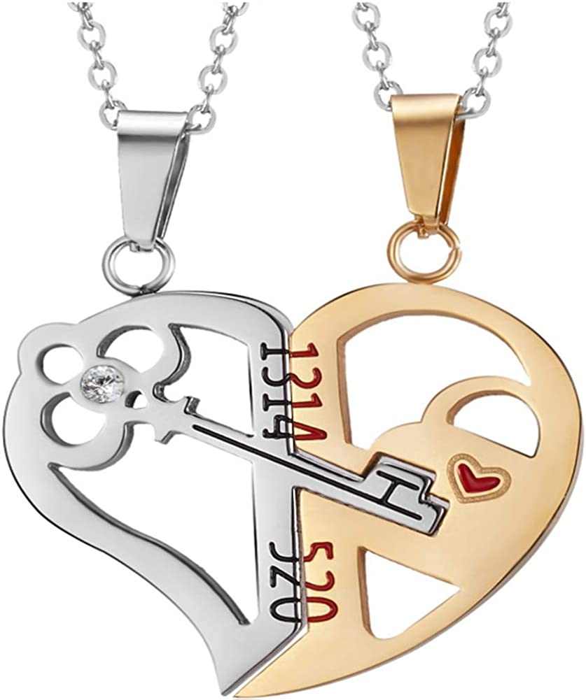 LAMEIDA Open Your Heart Couple Pendant Necklace-Metal necklace Lovers necklace