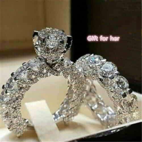 Ravewan Shop 2PCS White Sapphire Wedding Engagement 925 Silver Ring Set Propose Jewelry Gifts 7