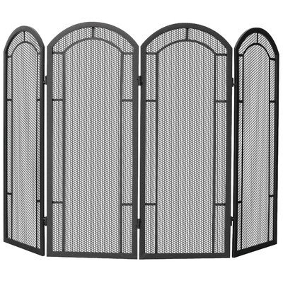 4 Panel Fireplace Screens (UniFlame 4-Fold Wrought Iron Screen, Black)