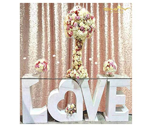 ShinyBeauty 3FTX7FT-Sequin Backdrop-Curtain-Blush, 36X84-Inches Sequin Photography Curtain,Ready to Ship. (Blush)