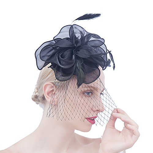 1940 Hats Women (Felizhouse Flower Feather Fascinator Hats for Women Party Derby W/Headband Clip)