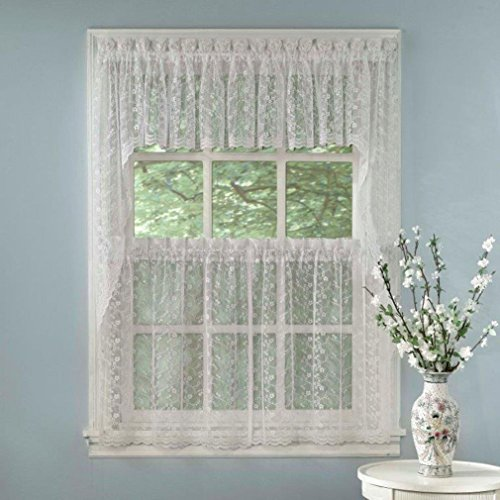 Classic Stripe Wallpaper - Fancy Elegant White Priscilla Lace Kitchen Curtains - Tiers Tailored Valance or Swag
