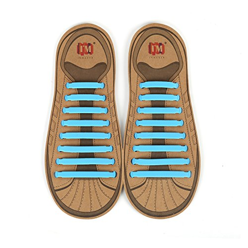 - INMAKER No Tie Shoelaces for Kids and Adults, Elastic Shoelaces for Sneakers, Silicone Flat Tieless Running Shoe Laces