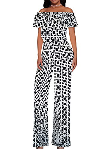 Dress Jumpsuit - Women High Waist Wide Leg Pants Jumpsuit Romper KPVJ47696X 10275 Ivory/BLAC 2X