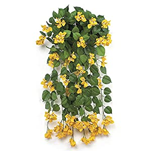 "SilksAreForever 36"" IFR Artificial Hanging Bougainvillea Flower Bush -Yellow (Pack of 2) 84"