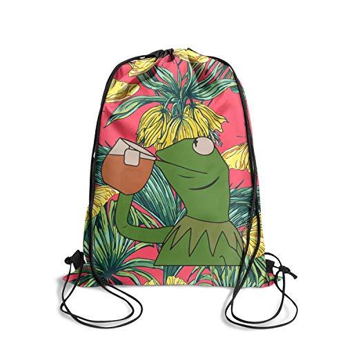 LKUIOJ Funny-Green-Frog-Sipping-Tea Custom Drawstring Bags Tote Sack Travel Storage