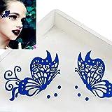 Eyelashes,Han Shi Women Fashion Creative Soft Butterfly Eye Stickers Cosmetic False Eye Lashes (A, Blue)