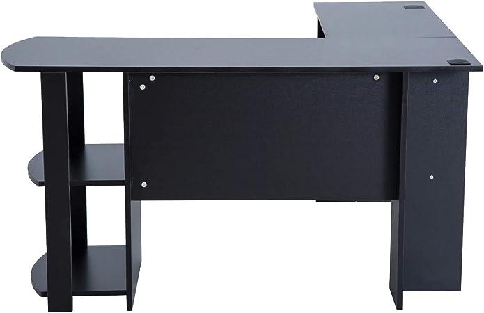XYAN Hogar Oficina Escritorio Mesa Escritorio de Esquina Giratorio librero Mesa de Ordenador PC Escritorio para Oficina Hogar Tipo Esquinera Forma L con Estantes Negro 136.2x130.4x72cm: Amazon.es: Hogar
