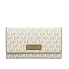 MICHAEL Michael Kors' trifold wallet conceals a wealth of slots and pockets - more than a dozen in total - in signature coated twill with polished branding and a secure snap closure.