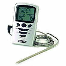 CDN Programmable Probe Thermometer and Timer, Silver