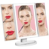 Natural Daylight Lighted Makeup Mirror / Vanity Mirror with Touch Screen Dimming, Tri-Fold 1x 2x 3x Magnification Sections, Portable Convenience and High Definition Clarity Cosmetic Mirror