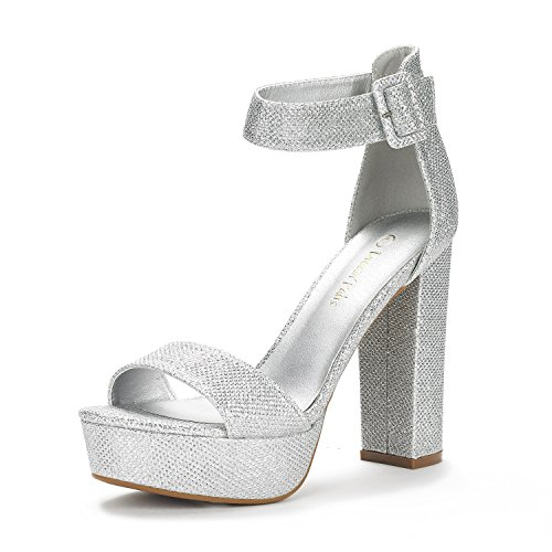 DREAM PAIRS Women's Hi-Lo Silver Glitter High Heel Platform Pump Sandals - 5 M US