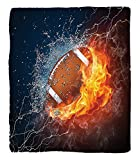 Chaoran 1 Fleece Blanket on Amazon Super Silky Soft All Season Super Plush Sports Decor Collection Football on Fire Water Flameplashing Thunder Lightning Abstract Print Fabric Extra Navy Orange Peru
