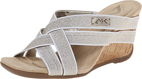 AK Anne Klein Sport Women's 7Lakeisha Fabric Wedge Sandal, White, 9.5 M US